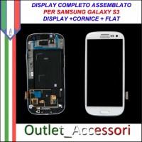 Display Schermo Originale Assemblato Cornice Flat per Samsung Galaxy S3 Bianco White I9300 Gorilla Glass