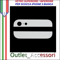 Vetro Glass Posteriore Back Bianco White Cover per Iphone 5 5g