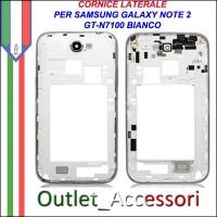 Cornice Laterale Scocca per Samsung Note 2 N7100 Bianco Bianca