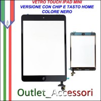 Vetro Touch Touchscreen Schermo per Apple Ipad Mini NERO con Chip Tasto