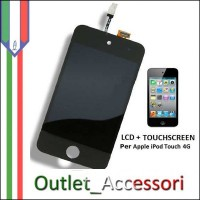 Display Lcd Touchscreen Ricambio Vetro per Apple Ipod Nero 4 touch Generazione