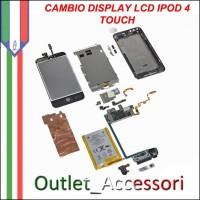 Sostituzione Riparazione Cambio Display LCD Touchscreen Touch Vetro per Apple Ipod 4 Quarta generazione