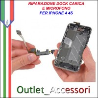 Sostituzione Riparazione Connettore Dock Carica Ricarica Microfono per Apple Iphone 4 4S