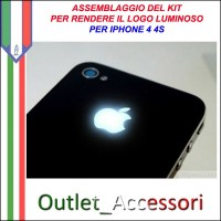 Assemblaggio Installazione Cambio Cover Kit Led Mela Luminosa Luce Illuminata per Apple Iphone 4 4S