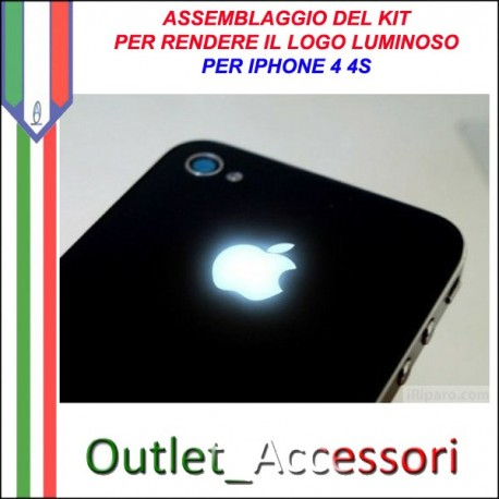 Assemblaggio Installazione Cambio Cover Kit Led Mela Luminosa Luce Illuminata per Apple Iphone 4 4S