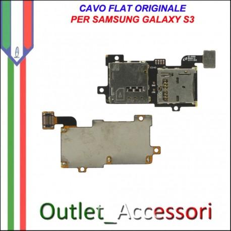 Connettore Slot Sim Memoria Microsd Flat Flex Cavo Ricambio Originale per Samsung Galaxy S3 I9300