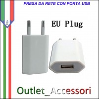 Presa a Muro Spinotto Adattatore USB per Cavo Apple Iphone Ipod