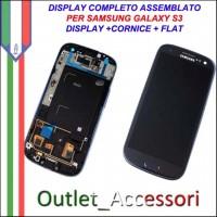 Display Schermo Assemblato Cornice Flat per Samsung Galaxy S3 Blu Blue I9300