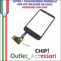 Vetro Touch Touchscreen Digitizer Ricambio Originale per HTC Wildfire G8 A3333 con CHIP