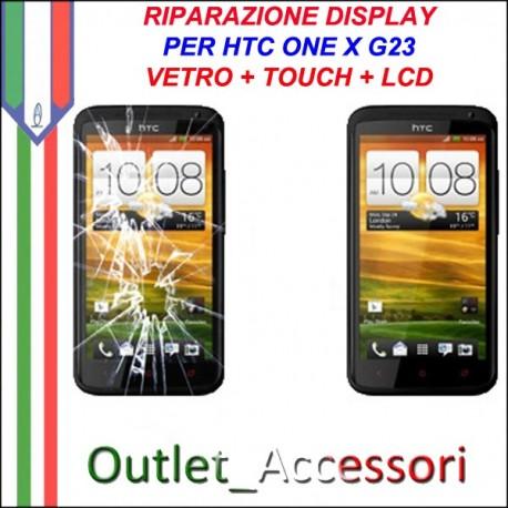 Sostituzione Riparazione Cambio Display Lcd Vetro Touch Touchscreen Schermo Rotto per HTC ONE X G23