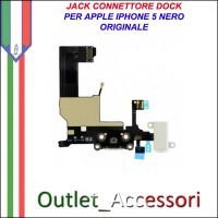 Flat flex Jack Connettore Dock Microfono Ricarica Carica Ricambio Originale per Apple Iphone 5 5g Nero Black