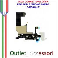 Flat flex Jack Connettore Dock Microfono Ricarica Carica Ricambio Originale per Apple Iphone 5 5g Nero Black