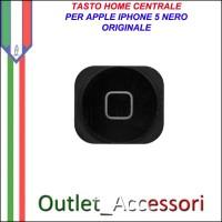 Pulsante Tasto home Centrale Ricambio Originale per Apple Iphone 5 5g Nero Black
