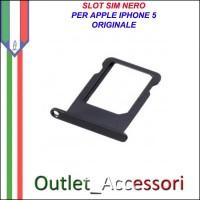 Slot Sim Carrello Porta Scheda Nano Ricambio Originale per Apple Iphone 5 5g Nero