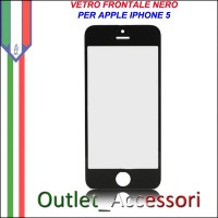 Vetro Lens Glass Schermo Frontale per Apple Iphone 5 5G Nero Black