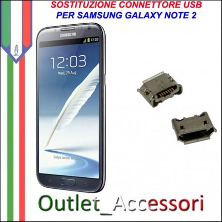 Sostituzione Riparazione Saldatura Porta Connettore Jack Usb Carica Ricarica per Samsung Galaxy NOTE2 N7100