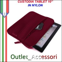 Custodia Cover per Tablet 10'' Nylon Rossa Fuxia IPAD