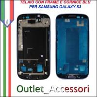 Scocca Housing Telaio Frame Cornice per Samsung Galaxy S3 I9300 Blu