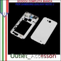 Cover Scocca Housing Copribatteria Tasti Ricambio Completo Originale per Samsung Galaxy Note 2 N7100 N7105 BIANCO