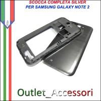 Cover Scocca Housing Copribatteria Tasti Ricambio Completo Originale per Samsung Galaxy Note 2 N7100 N7105 Grey Silver