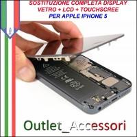 Sostituzione Riparazione Cambio Display Lcd Vetro Touch Touchscreen Schermo Rotto per Apple Iphone 5 5g