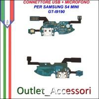 Flat Flex Connettore USB Carica Ricarica Microfono per Samsung Galaxy S4 Mini I9190 I9195 Ricambio Originale