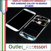 Display Schermo Originale Assemblato Cornice Flat per Samsung Galaxy S4 BIANCO WHITE I9505 Gorilla Glass