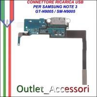 Flat Connettore Ricarica Carica USB Micro per Samsung Note 3 Note3 N9005