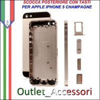 Scocca Housing Copribatteria Back Cover per Iphone 5 Gold Oro Champagne NERO NERA con Tasti