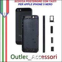 Scocca Housing Copribatteria Back Cover per Apple Iphone 5 NERO NERA con Tasti