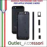 Scocca Housing Copribatteria Back Cover per Iphone 5 NERO NERA con Tasti