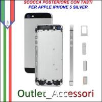 Scocca Housing Copribatteria Back Cover per Iphone 5 Silver Grigia con Tasti