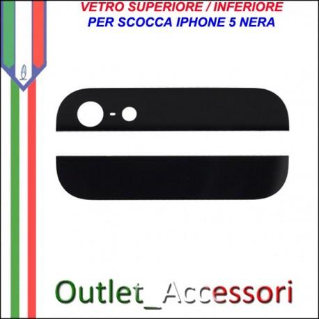 Vetro Glass Posteriore Back Nero Cover per Iphone 5 5g
