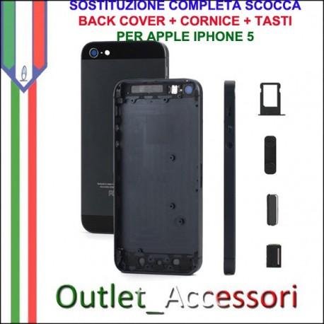 Sostituzione Cambio Assemblaggio Housing Scocca Cornice Tasti Back Cover per Apple Iphone 5 5g