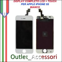 Display Lcd IPHONE 5S A1453, A1457, A1518, A1528, A1530, A1533 Touch Vetro Bianco Completo OEM ORIGINALE