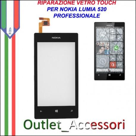 Sostituzione Riparazione Cambio Vetro Touch Screen Schermo Rotto per Nokia Lumia 520