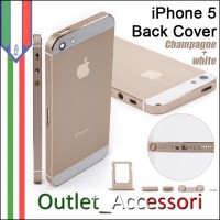 Scocca Housing Copribatteria Back Cover per Iphone 5 Gold Oro Champagne Bianca con Tasti