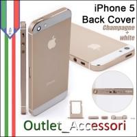 Scocca Housing Copribatteria Back Cover per Iphone 5 Gold Oro Champagne Bianca con Tasti