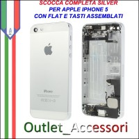 Scocca Housing Copribatteria Back Cover per Iphone 5 Silver Bianca Flat Dock con Tasti