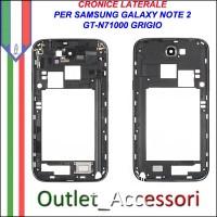 Cornice Laterale Scocca per Samsung Note 2 N7100 Grigio Titanium Grey