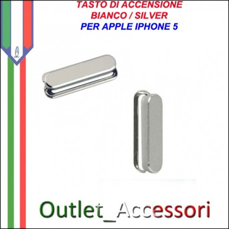 Tasto Pulsante Apple Iphone 5 Power Accensione Bianco Silver