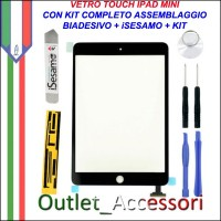 Vetro Touch Touchscreen per Apple Ipad Mini Nero Kit Smontaggio iSesamo Biadesivo