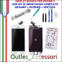Display Lcd Touch Apple Iphone 5 Bianco con Kit Smontaggio Biadesivo iSesamo iSrews