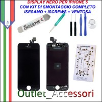 Display Lcd Touch Apple Iphone 5 Nero con Kit Smontaggio Biadesivo iSesamo iSrews