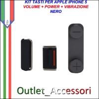 Tasti Pulsanti Volume Audio Power Iphone 5 Nero Black Accensione Mute