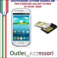 Sostituzione Riparazione Lettore Sim Pista Flat Scheda Rotto per Samsung Galaxy S3 Mini i8190 i8200