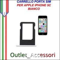 Carrello Slot Porta Scheda Sim Nano Bianco per Apple Iphone 5c