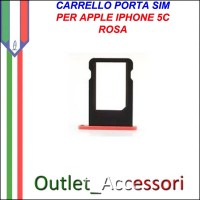 Carrello Slot Porta Scheda Sim Nano Rosa Pink per Apple Iphone 5c