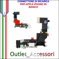 Connettore Flat Carica Ricarica Microfono Apple Iphone 5S BIANCO