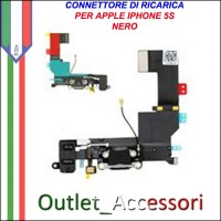 Connettore Flat Carica Ricarica IPHONE 5S Microfono Apple Nero